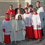 Chierichetti con il vescovo emerito Diego Coletti, don Valerio Livio e don Christian Bricola